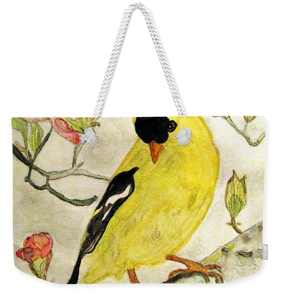 A Goldfinch Spring Weekender Tote Bag
