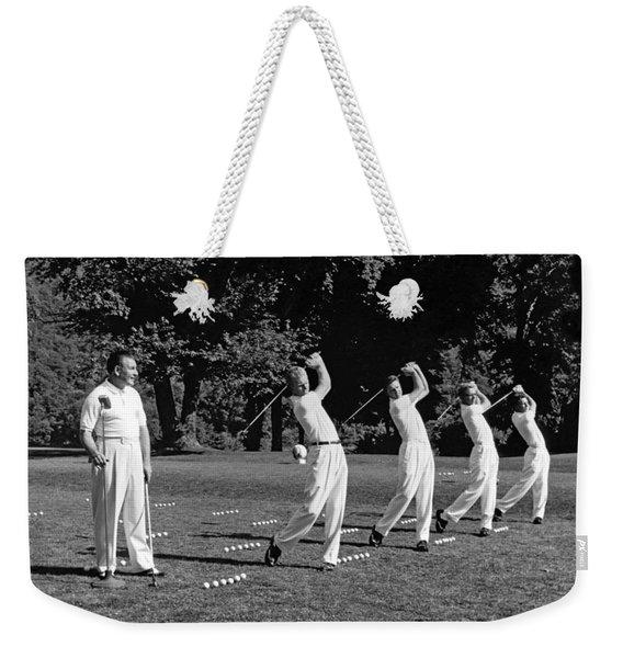 A Golf Driving Demonstration. Weekender Tote Bag
