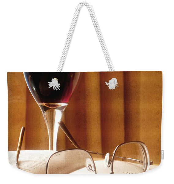 A Good Book And A Glass Of Wine Weekender Tote Bag