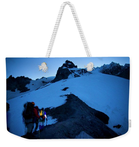 A Group Of Mountaineers Ascend Oregons Weekender Tote Bag