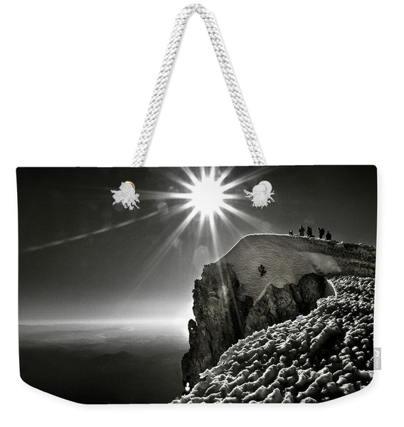 A Group Of Mountaineers Reach Weekender Tote Bag