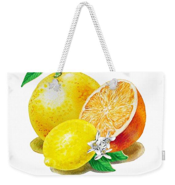A Happy Citrus Bunch Grapefruit Lemon Orange Weekender Tote Bag