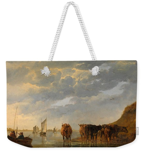 A Herdsman With Five Cows By A River Weekender Tote Bag