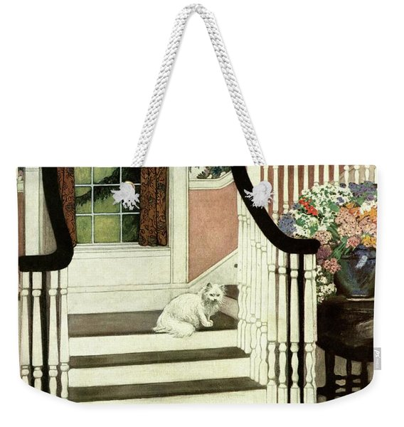 A House And Garden Cover Of A Cat On A Staircase Weekender Tote Bag