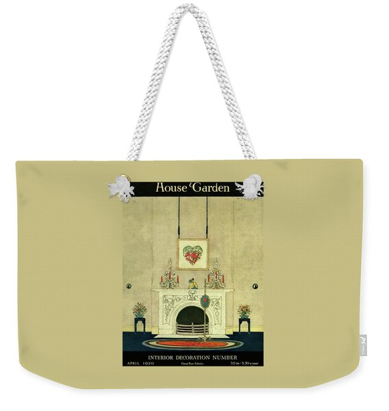 A House And Garden Cover Of A Fireplace Weekender Tote Bag