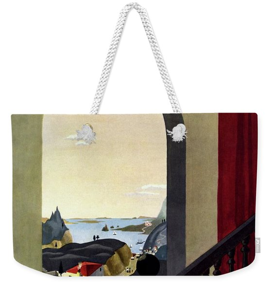 A House And Garden Cover Of A Seaside Village Weekender Tote Bag