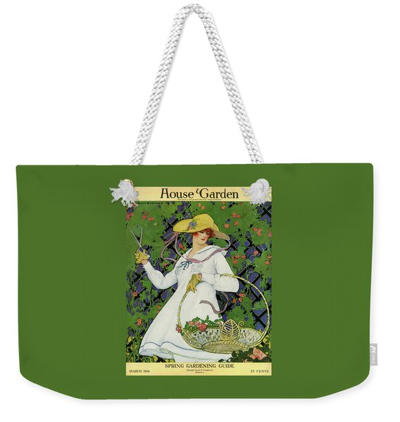 A House And Garden Cover Of A Woman Gardening Weekender Tote Bag