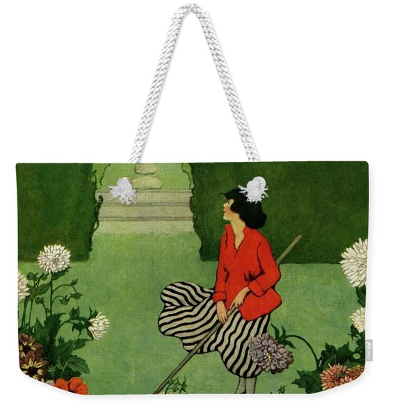 A House And Garden Cover Of A Woman Raking Leaves Weekender Tote Bag