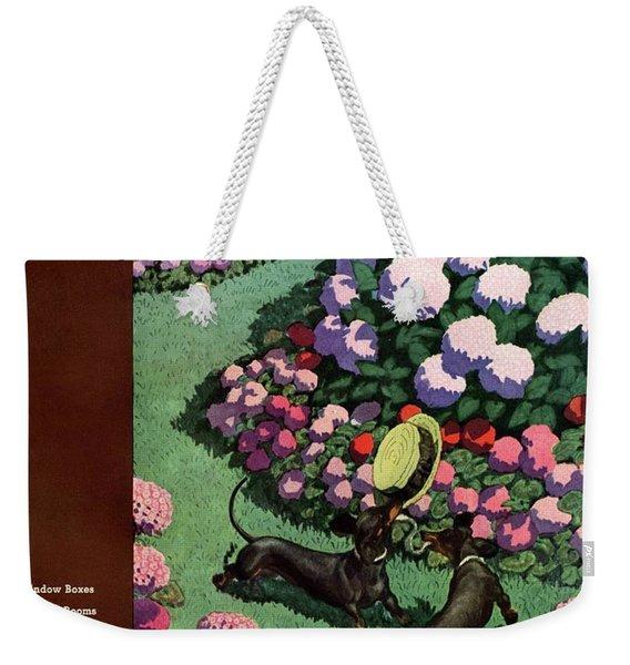 A House And Garden Cover Of Dachshunds With A Hat Weekender Tote Bag