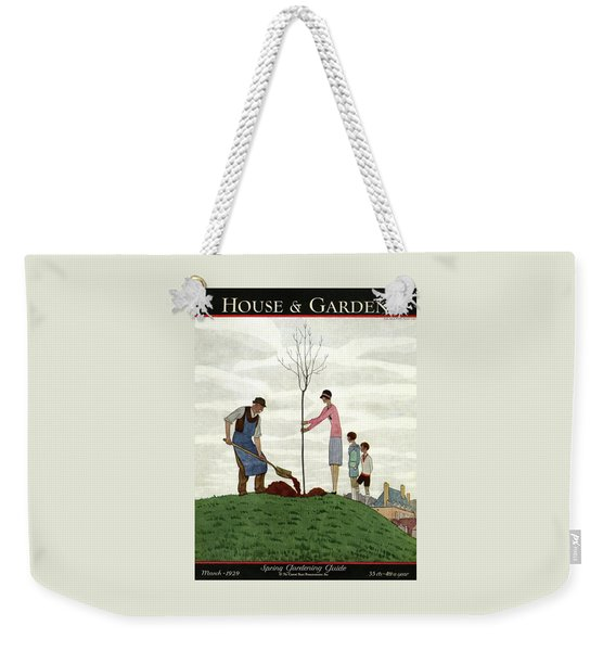 A House And Garden Cover Of People Planting Weekender Tote Bag