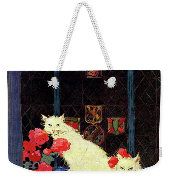 A House And Garden Cover Of White Cats Weekender Tote Bag