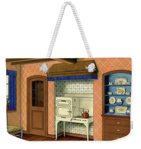 A Kitchen With An Old Fashioned Oven And Stovetop Weekender Tote Bag