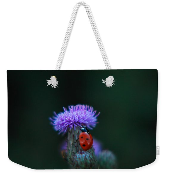 A Lady Bug Climbing A Thistle Weekender Tote Bag