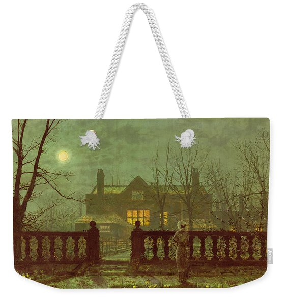 A Lady In A Garden By Moonlight Weekender Tote Bag
