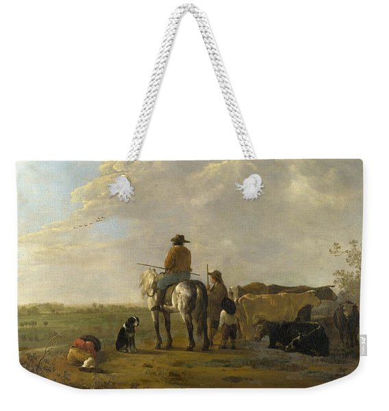 A Landscape With Horseman Herders And Cattle Weekender Tote Bag