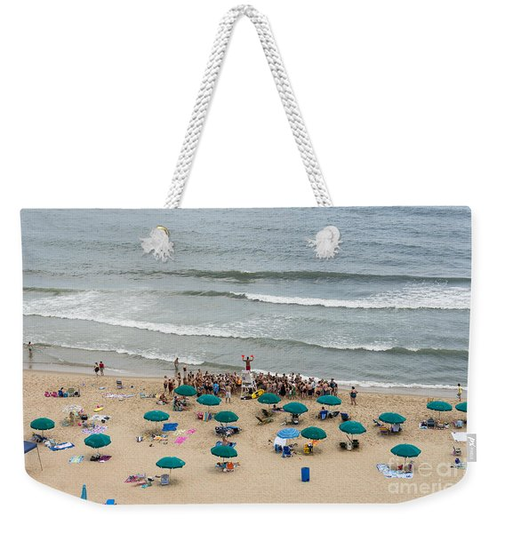 A Lifeguard Gives A Safety Briefing To Beachgoers In Ocean City Maryland Weekender Tote Bag