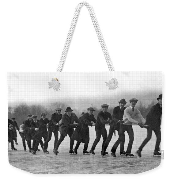 A Line Of Ice Skaters Weekender Tote Bag
