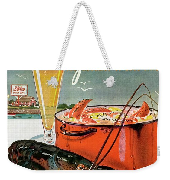 A Lobster And A Lobster Pot With Beer Weekender Tote Bag