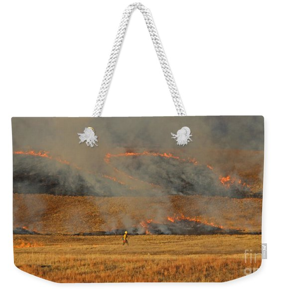 A Lone Firefighter On The Norbeck Prescribed Fire. Weekender Tote Bag