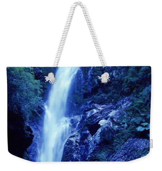 A Man Admires A Waterfall, Patagonia Weekender Tote Bag