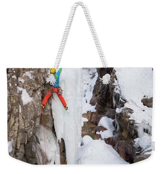 A Man And Woman Ice Climbing Weekender Tote Bag