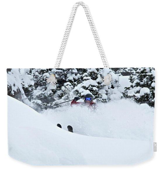 A Man Skis On Teton Pass In Wyoming Weekender Tote Bag