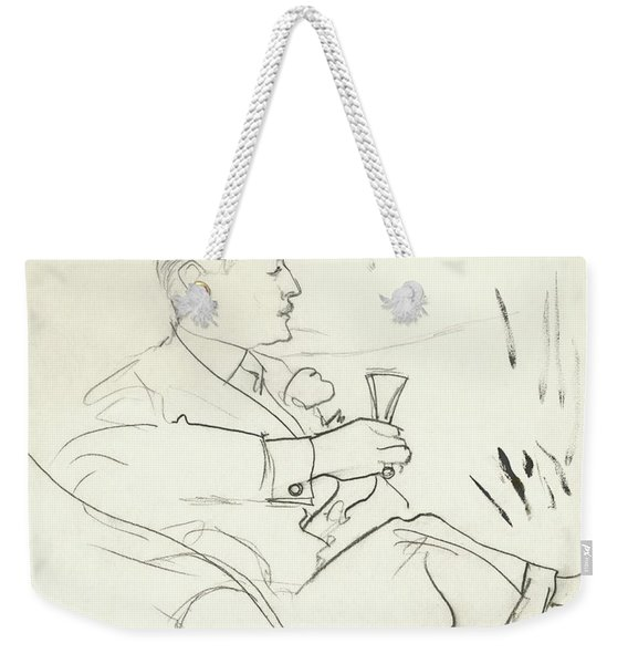 A Man With A Glass Of Wine Weekender Tote Bag