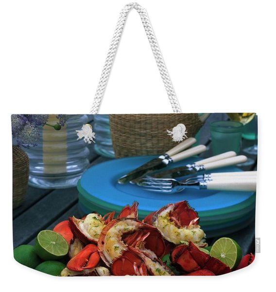 A Meal With Lobster And Limes Weekender Tote Bag