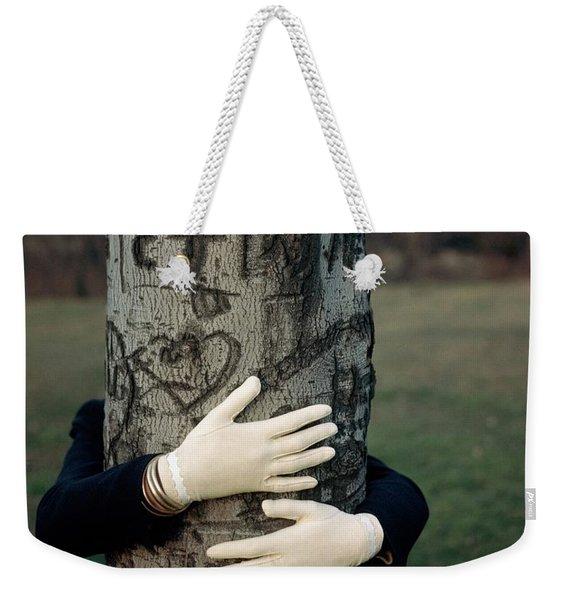 A Model Hugging A Tree Weekender Tote Bag