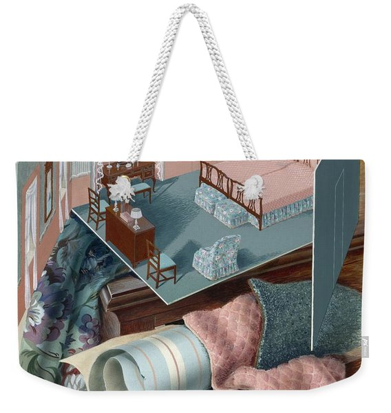 A Model Of A Bedroom On Top Of A Set Of Drawers Weekender Tote Bag