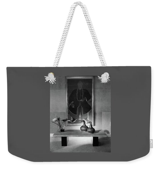 A Modern Table With An Oriental Painting Weekender Tote Bag