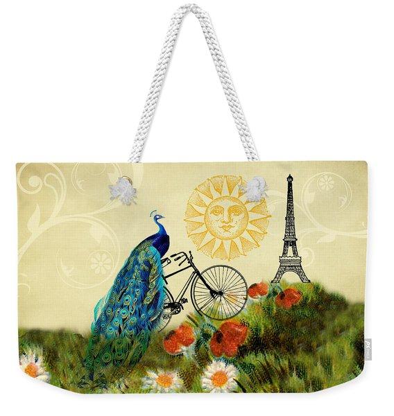 A Peacock In Paris Weekender Tote Bag