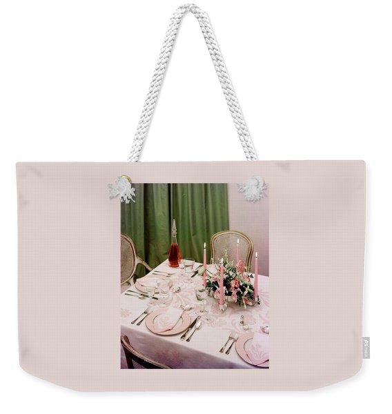 A Pink Table Setting Weekender Tote Bag
