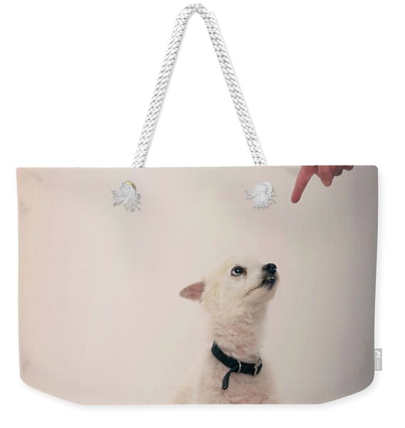 A Pointing Finger Points In A Punishing Weekender Tote Bag
