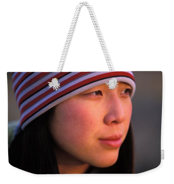 A Portrait  Headshot Of An Active Woman Weekender Tote Bag