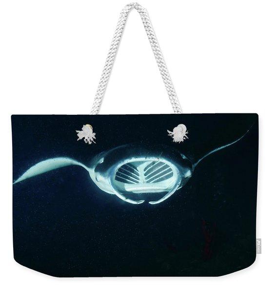 A Reef Manta Ray Feeding At Night Weekender Tote Bag