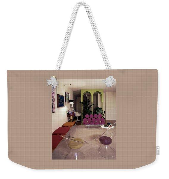 A Retro Living Room Weekender Tote Bag