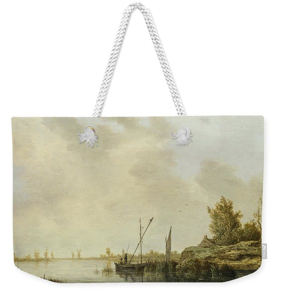 A River Scene With Distant Windmills Weekender Tote Bag