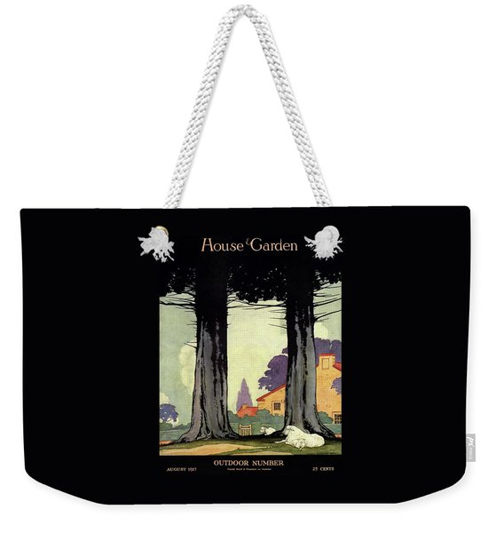 A Sheep And Lambs Under Evergreen Trees Weekender Tote Bag