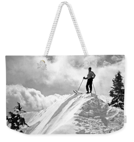 A Skier On Top Of Mount Hood Weekender Tote Bag