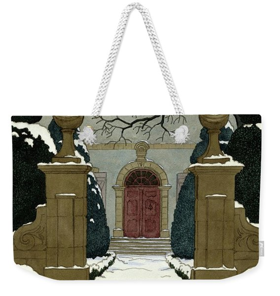 A Snow Covered Pathway Leading To A Mansion Weekender Tote Bag