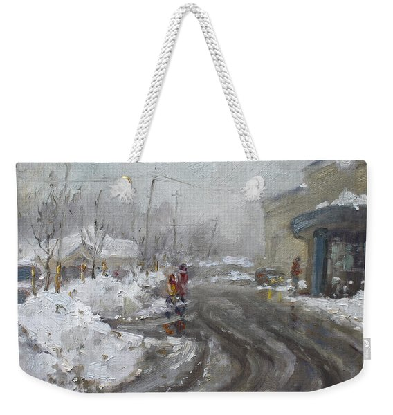 A Snow Day At Mil-pine Plaza Weekender Tote Bag