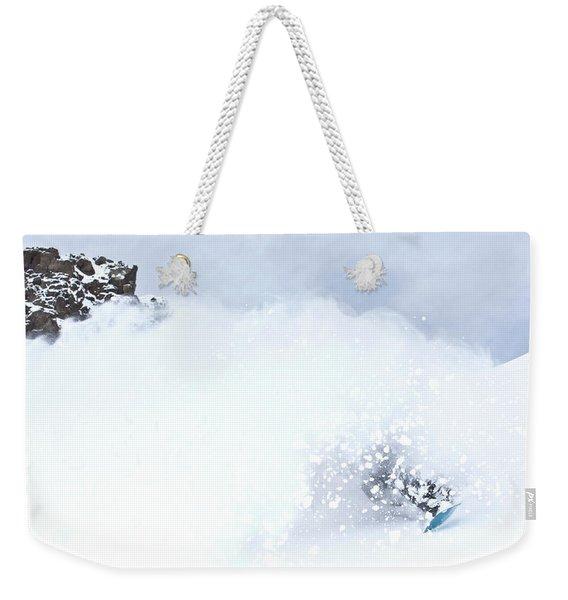 A Snowboarder Rides Through A Cloud Weekender Tote Bag