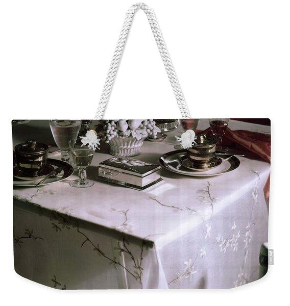A Table Set With Delicate Tableware Weekender Tote Bag