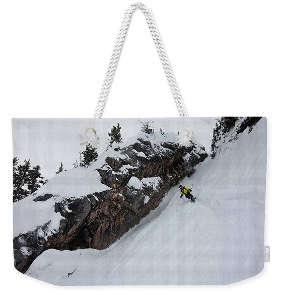 A Telemark Skier In A Narrow Chute Weekender Tote Bag