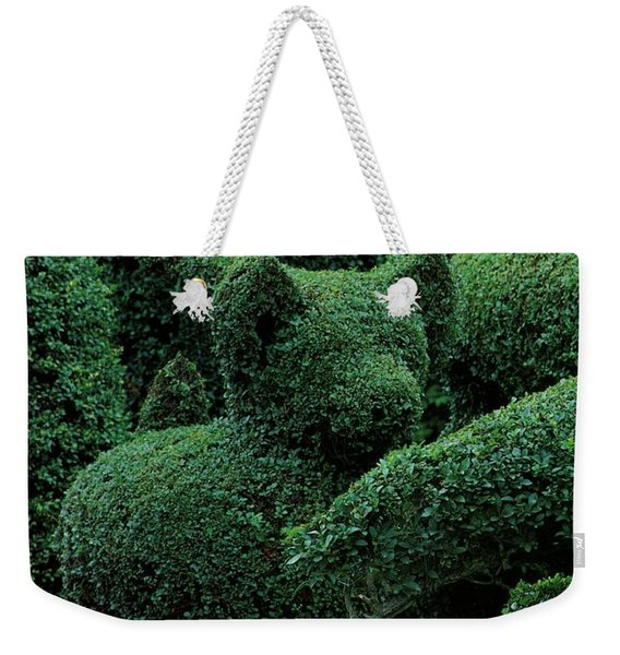 A Topiary Bear In Alice Braytons Green Animals Weekender Tote Bag
