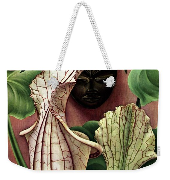 A Tropical Flower And An African Mask Weekender Tote Bag