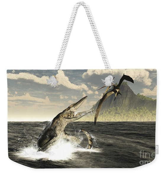 A Tylosaurus Jumps Out Of The Water Weekender Tote Bag