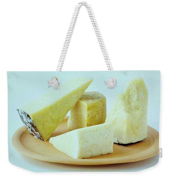 A Variety Of Cheese On A Plate Weekender Tote Bag