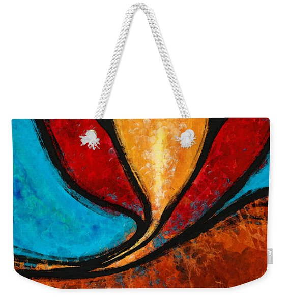 A Visit With Ama - Vibrant Abstract Flower Art By Sharon Cummings Weekender Tote Bag